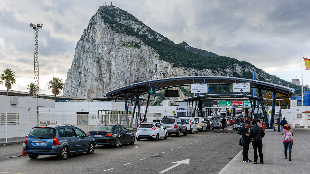 Gibraltar border with Spain