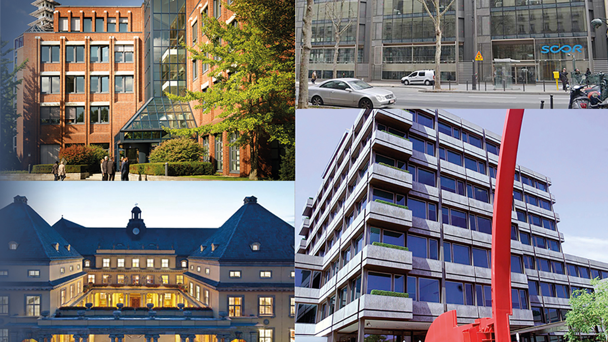 Big four reinsurers (clockwise, from top left: Hannover Re, Scor, Swiss Re, Munich Re)