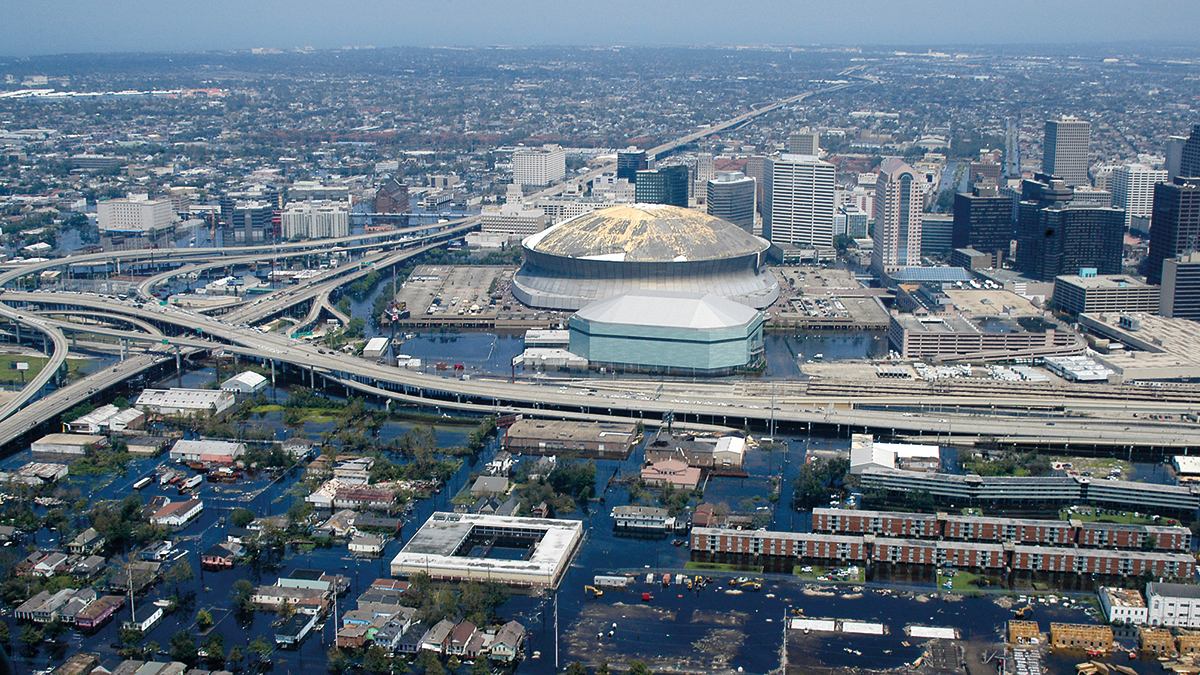Hurricane Katrina damaged in New Orleans (2005)