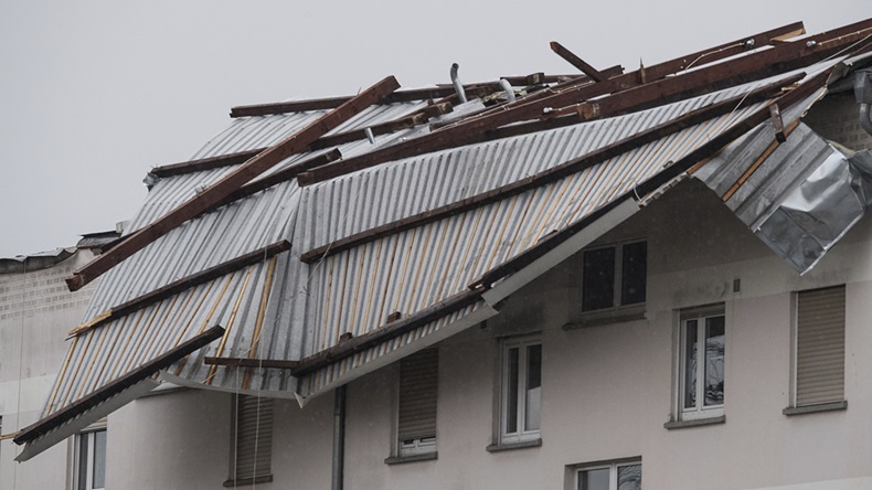 Building damaged by Cyclone Egon in Erlensee Germany (Boris Roessler/DPA via AP)