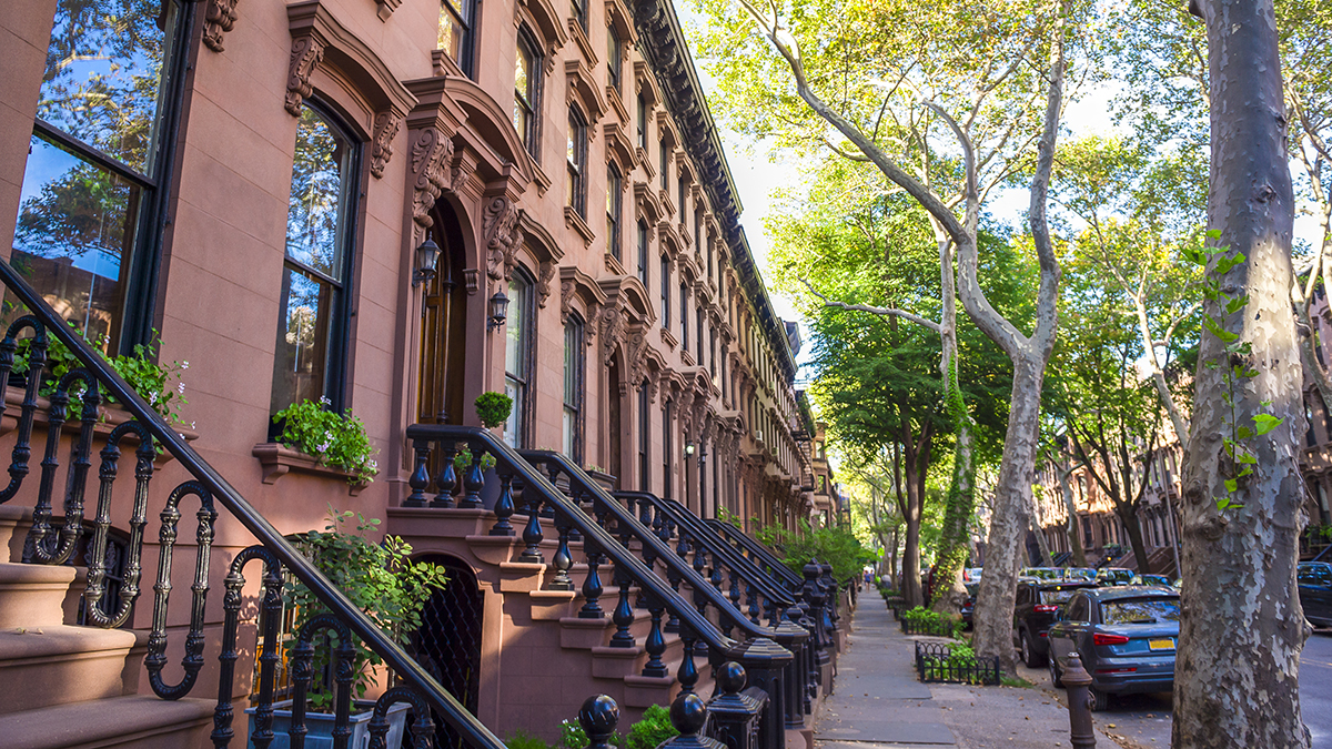 New York brownstones (lazyllama/Shutterstock.com)
